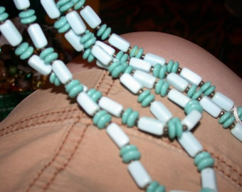 Vintage Blue Glass Beaded Necklace Extra Extra Long