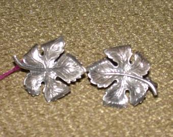 Vintage Silver Leaf Earrings Clip