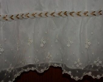 ON SALE Vintage White Slip Skirt Gold Braided Detail