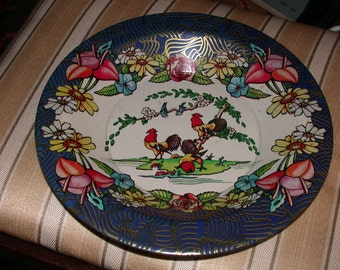 ON SALE Vintage Action Industries Tin Tray Bowl Chickens Roosters Flowers Blue Gold Art Deco Border Brazil