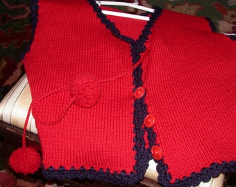 Vintage Little Girl's Red Hand Knitted Vest with Navy Border and Pom Pom Ties Great Buttons