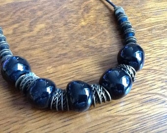 Vintage Black Beaded Necklace on Leather Chain