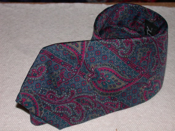 SALE Vintage Liberty of London Magenta and Blue Paisley Silk Tie
