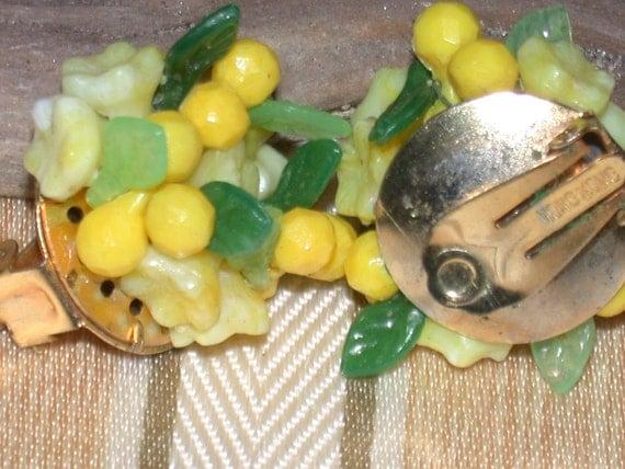 Vintage Earrings Yellow Fruit Salad Hong Kong