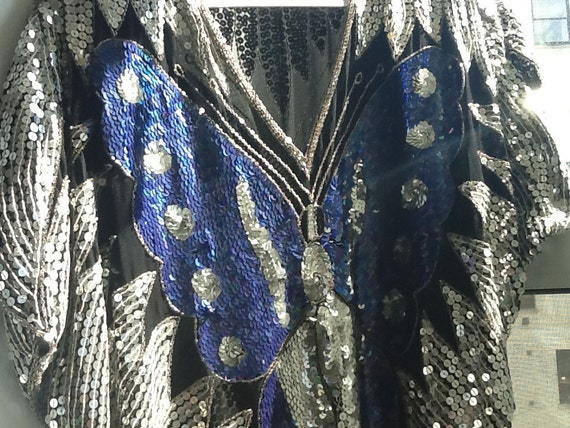 ON RESERVE Vintage Sequin BUTTERFLY Blouse Top Purple and Silver