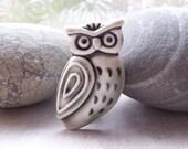 Stern Owl Pin Brooch Glazed Warm Slate Grey Handmade Porcelain