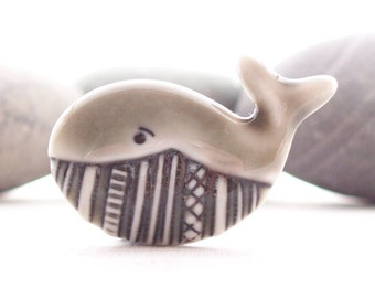 Whale Brooch Pin Warm Grey Glazed Handmade Porcelain
