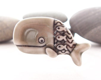 Whale Pin Brooch Warm Grey Glazed Handmade Porcelain