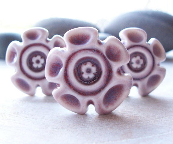 Plum Purple Flower Buttons Three Big and  Beautiful Handmade Glazed  Porcelain Shank Back Buttons