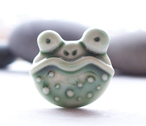 Frog Toad Pin Brooch Handmade Deep Frog Green Glazed Porcelain Amphibian Prince in Disguise