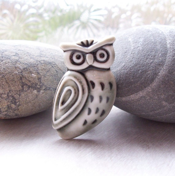 Stern Owl Pin Brooch Glazed Warm Slate Grey Handmade Porcelain