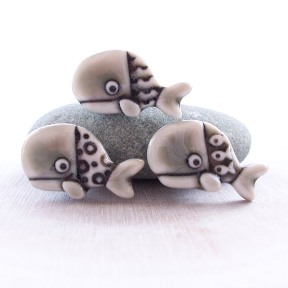 Whale Shank Buttons Glazed Warm Grey Handmade Porcelain