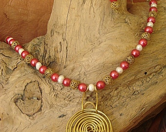 Freshwater Pearls and Glass Beads Necklace and Earrings
