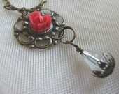 Vintage Inspired Necklace with Brass Filigree, Rose Cabachon, Crystal Drop, Handmade Jewelry