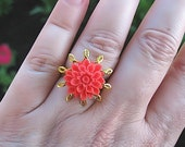 Resin Flower Ring Coral Colored Chrysanthemum, Adjustable