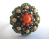 Button Ring - Adjustable Orange Blue Beaded