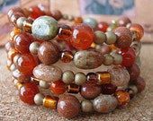 Southwest Inspired Beaded Bracelet, Memory Wire, Shades of Sedona, Handmade Jewelry