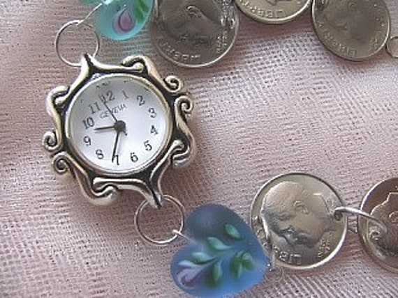 Bracelet Watch With Band of Dimes, Coin Jewelry