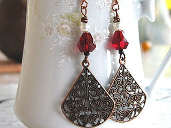 Filigree Earrings with Garnet Beads, Copper Filigree, Victorian, Gypsy Boho, Handmade Jewelry