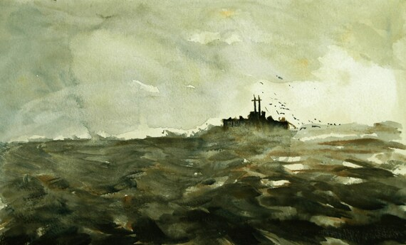 Winter Seascape No.1 - Original Watercolour and Acrylic Painting.