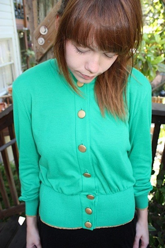 Vintage Dorothy's Fancy Teal Button Up Jacket S
