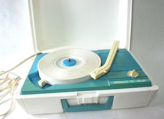 G E Electric White Record Player