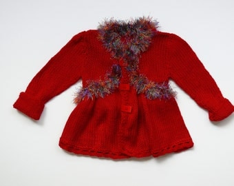 RED baby girl knitted cardigan