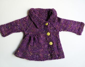 HOT PURPLE knitted coat for a girl