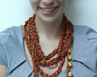 BRONZE chain knitted necklace