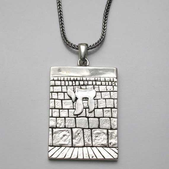 The Western Wall Chai Silver 925 Jewish Men's Necklace