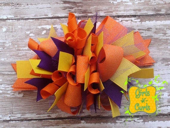 Glitter Orange and Yellow Boutique Funky Loopy Bow - Ready To Ship