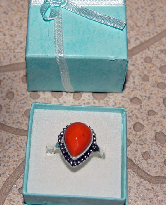 Red Coral Gemstone Tear Drop Silver Womens Ring - 8.5