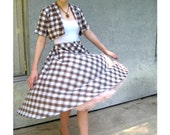 Rockabilly Picnic - Vintage 50s/60s White/Brown Gingham Cotton Short Sleeve Bolero Jacket w/ a fun Full CIRCLE Twirl Skirt