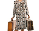 Vintage Fall Fashion  - 60s Mod Mad Men 2 Piece Gray/Black/Brown/White Checkerboard Wool Blend Travelling Suit w/ Pencil Skirt/Jacket