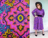 Psychedelic Secretary  - Vintage 80s Vibrant Magenta/Electric Blue/Purple/Green/Hot Pink Secretary Dress w/ gold buttons - Plus Size Diva