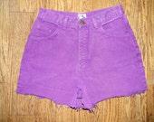 High Waisted Shorts - Vintage 80s/90s Deep Plum/Purple Denim Jean Shorts - High Waist Cut Off Summer Short Shorts/Cut Offs - 10 Dollar Sale