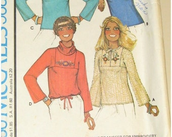 Vintage 70s UNCUT McCalls Sewing Pattern 5682 - HIPPIE Dashiki Style Blouse/Shirt/Top w/ EMBROIDERY Transfer- Size 10 Bust 32.5 - 34
