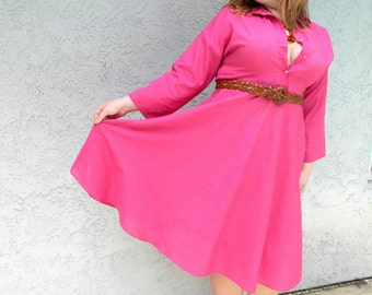 Hot Pink Dress - Rockabilly Picnic - Vintage 80s Does 50s Pink Shirtwaist Dress w/ Full Skirt - Size 12 Large L