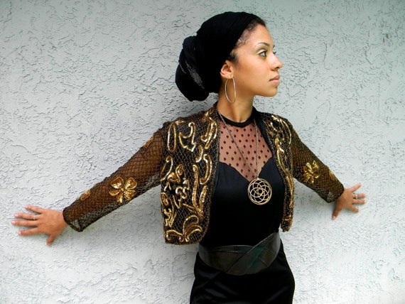Golden Goddess - Vintage 70s/80s Beaded Sequin FITTED Bolero Trophy Jacket in Gold Beads and Black Silk - Made in India - Christmas Party