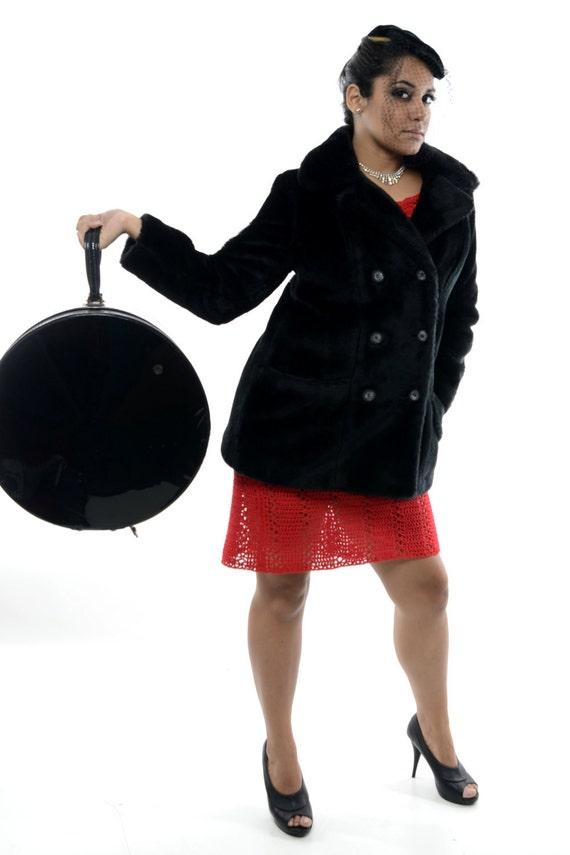 Mod Mad Men Glamor - Gorgeous Vintage 60s/70s Black Faux Fur Pea Coat/Jacket wi/ BIG buttons