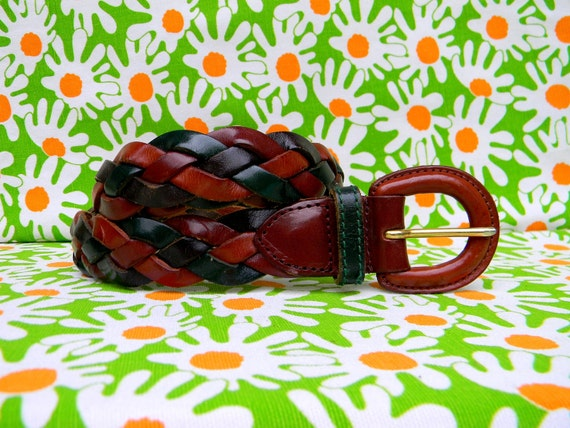 Vintage Woven Belt - Boho Baby - Vintage 90s THE LIMITED Genuine Leather Woven Braided belt in brown/hunter green L Large