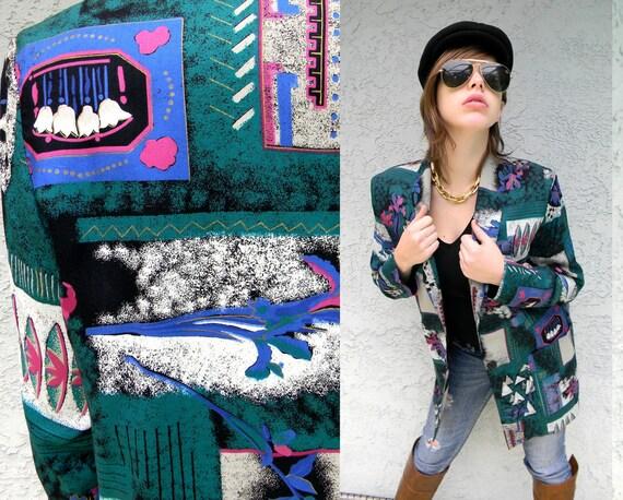 URBAN JUNGLE - Vintage 80s/90s Oversized Ska/Punk/New Wave Slouchy Boyfriend Jacket Blazer in Abstract Pop Art Print