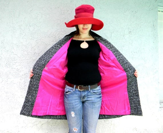 The London Lady Detective Agency - Vintage 80s Black/Gray Tweed Pea Style Coat/Jacket wi/ Hot Pink Lining/Velvet Collar/Military Shoulders