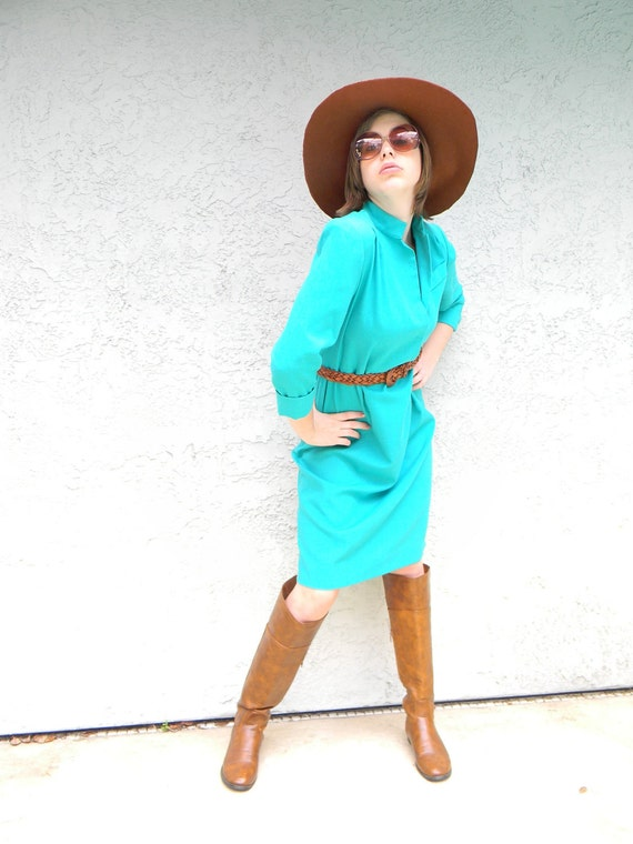 Preppy Love - Vintage 80s Emerald Green/Teal/Aquamarine Linen Style Summer Mini/Midi Polo Dress - Large/X-Large XL