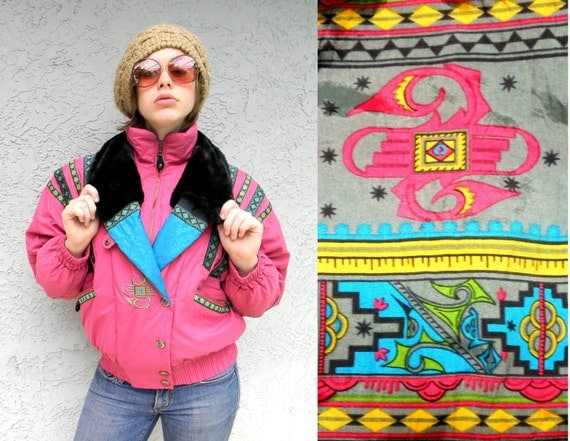 Rave On - Vintage 80s/90s HOT PINK/Teal Green/Black Puffer Ski/Snow Jacket/Winter Coat w/ faux fur collar & Southwestern/Tribal Accents