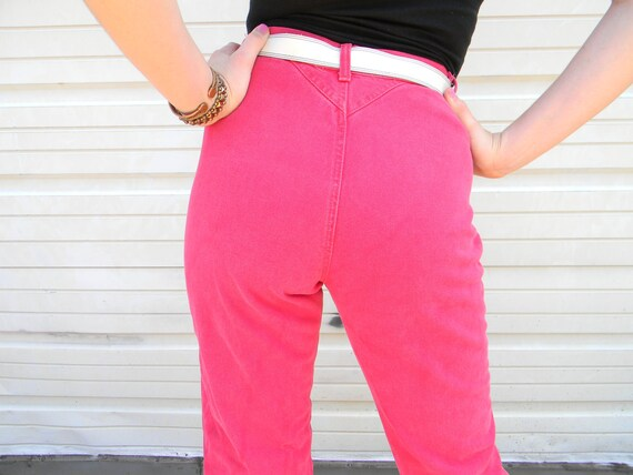 The Legend of Billie Jean - Vintage 80s High Waisted NEON RED Denim Jeans/Jean pants w/ crazy western darts by Wrangler - Punk Rodeo Cowgirl