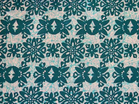 Vintage Batik Fabric - Vintage 70s Cotton Fabric Yardage - Hippie Fabric in Teal/Aquamarine/Turquoise/Cream Batik Block Print - 2 Yards Plus