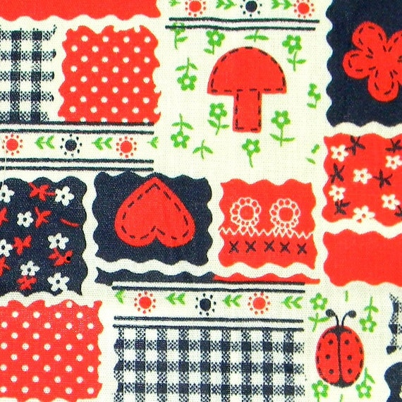 Mushrooms and Hearts Flower Power - Vintage 60s/70s Cotton Calico Patchwork Fabric Yardage - Mod Material in White/Bright Red/Navy Blue