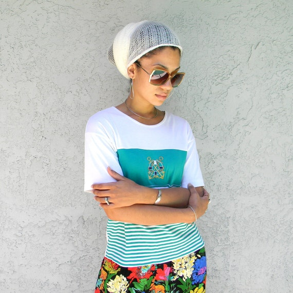 90s Tshirt Sale - The Preppy Sailor Yacht Club - Vintage 80s/90s Teal/Blue/White Knit T-Shirt w/ Nautical Stripes/Metallic Gold Anchor Crest