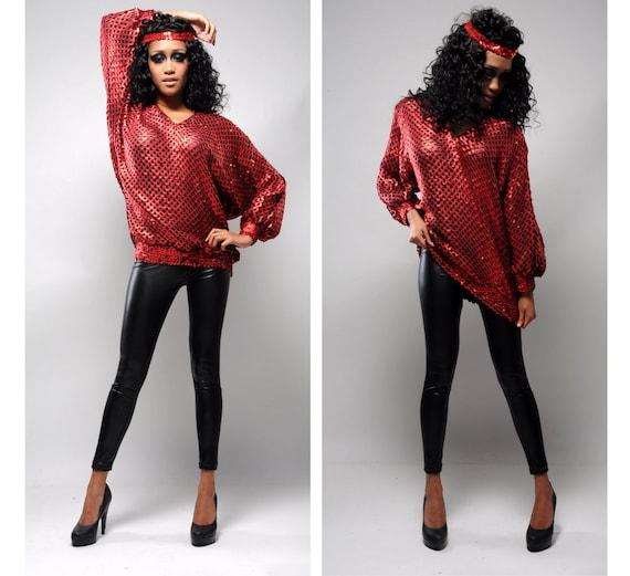 Christmas disco fever vintage 80s sequin trophy blouse mini dress in